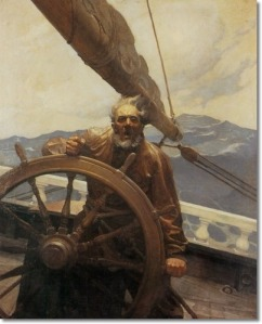 newell-convers-wyeth-the-rakish-brigantine-sea-captain-in-storm