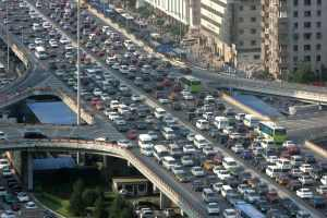 A traffic jam is seen during the rush hour in Beijing