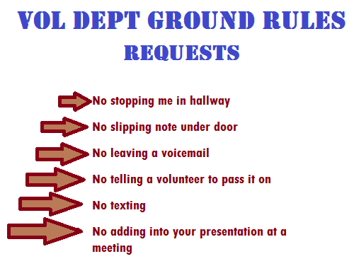 Ground Rules for Volunteer Departments